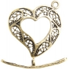Brass Antique Toggle Heart Filligree 21mm